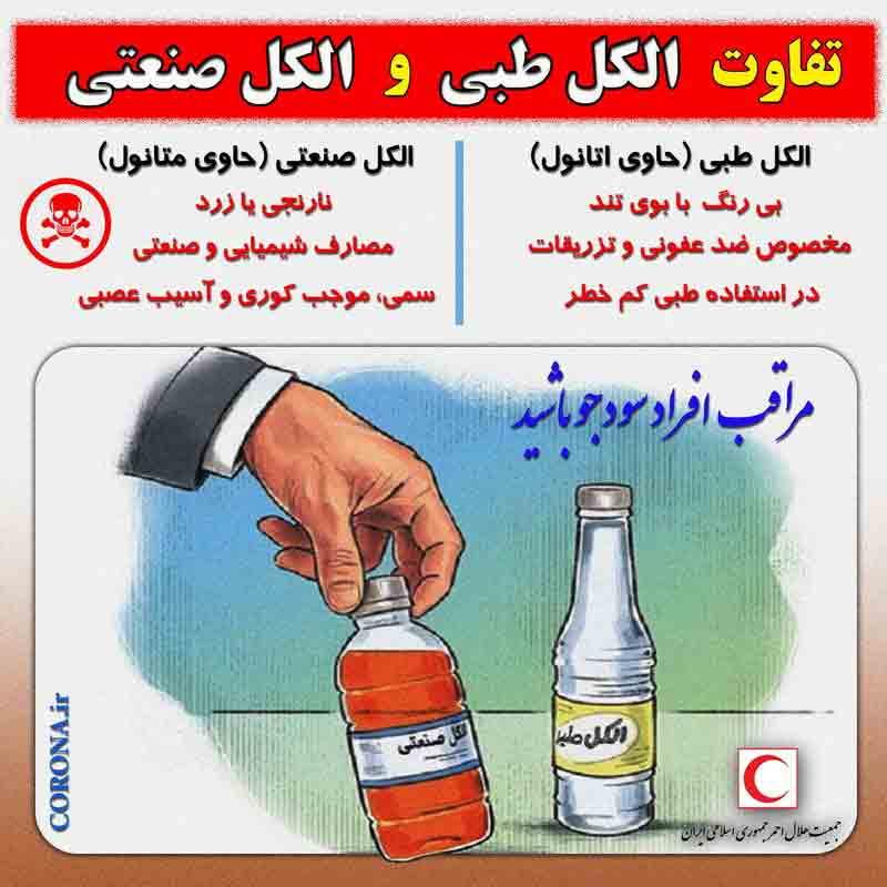 مراقبت باشید: از الکل صنعتی (زرد رنگ) برای ضدعفونی استفاده نکنید